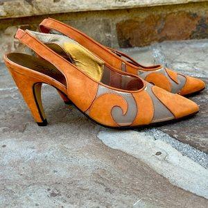 Paloma Italy 80s vintage suede slingback heels